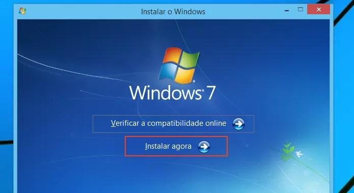 Iniciando a instalação do Windows 7 (Foto: Reprodução/Edivaldo Brito)