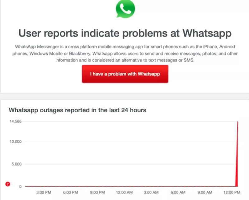 WhatsApp fora do ar — Foto: Reprodução/TechTudo