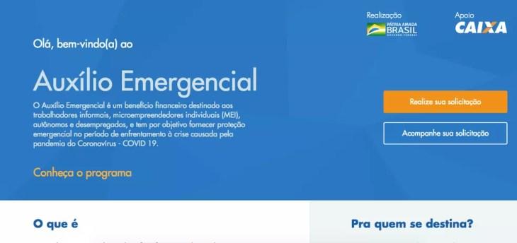 Página de abertura - solicitação de auxílio emergencial de R$ 600 — Foto: Reprodução