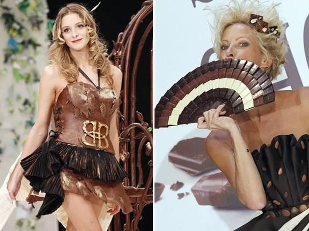 Modelos mostram roupas e acessórios feitos de chocolate durante evento em Paris (Foto: AFP)