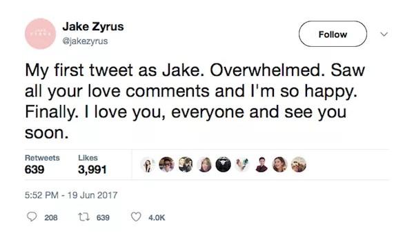 A mensagem compartilhada pelo ator e cantor Jake Zyrus (Foto: Twitter)