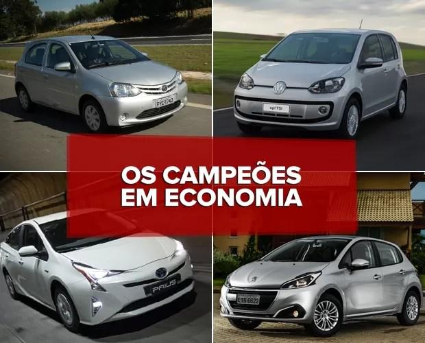 Os veículos campeões em economia (Foto: Divulgação)