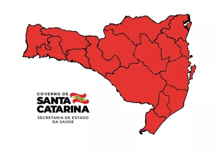 Matriz de risco da Covid-19 mostra todas as regiões em nível gravíssimo em SC - 27/02/2021 — Foto: Reprodução/Governo de Santa Catarina