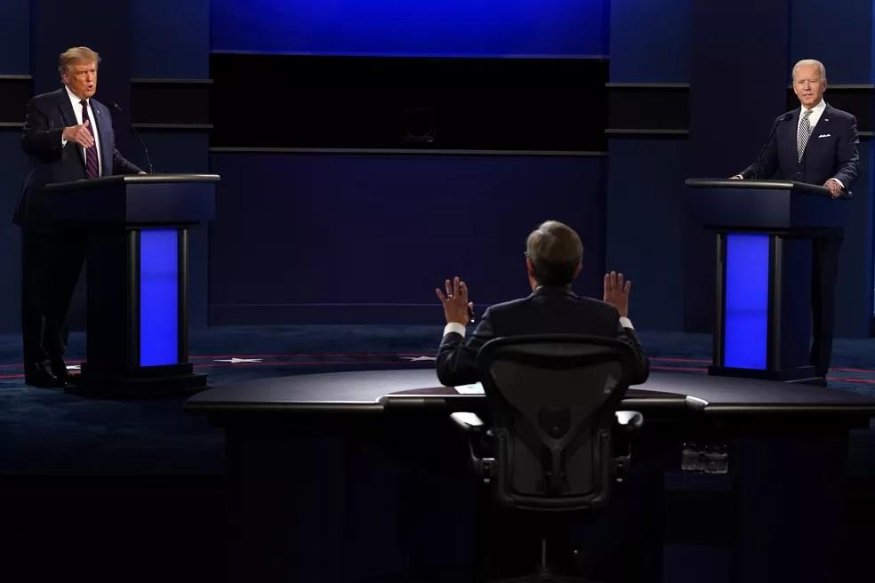 Trump e Biden em debate — Foto: Patrick Semansky/AP