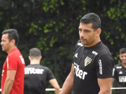 """Diego Souza explica o que mudou com Gonzalo Carneiro no São Paulo: """"São dois atacantes"""" — Foto: Marcelo Hazan"""
