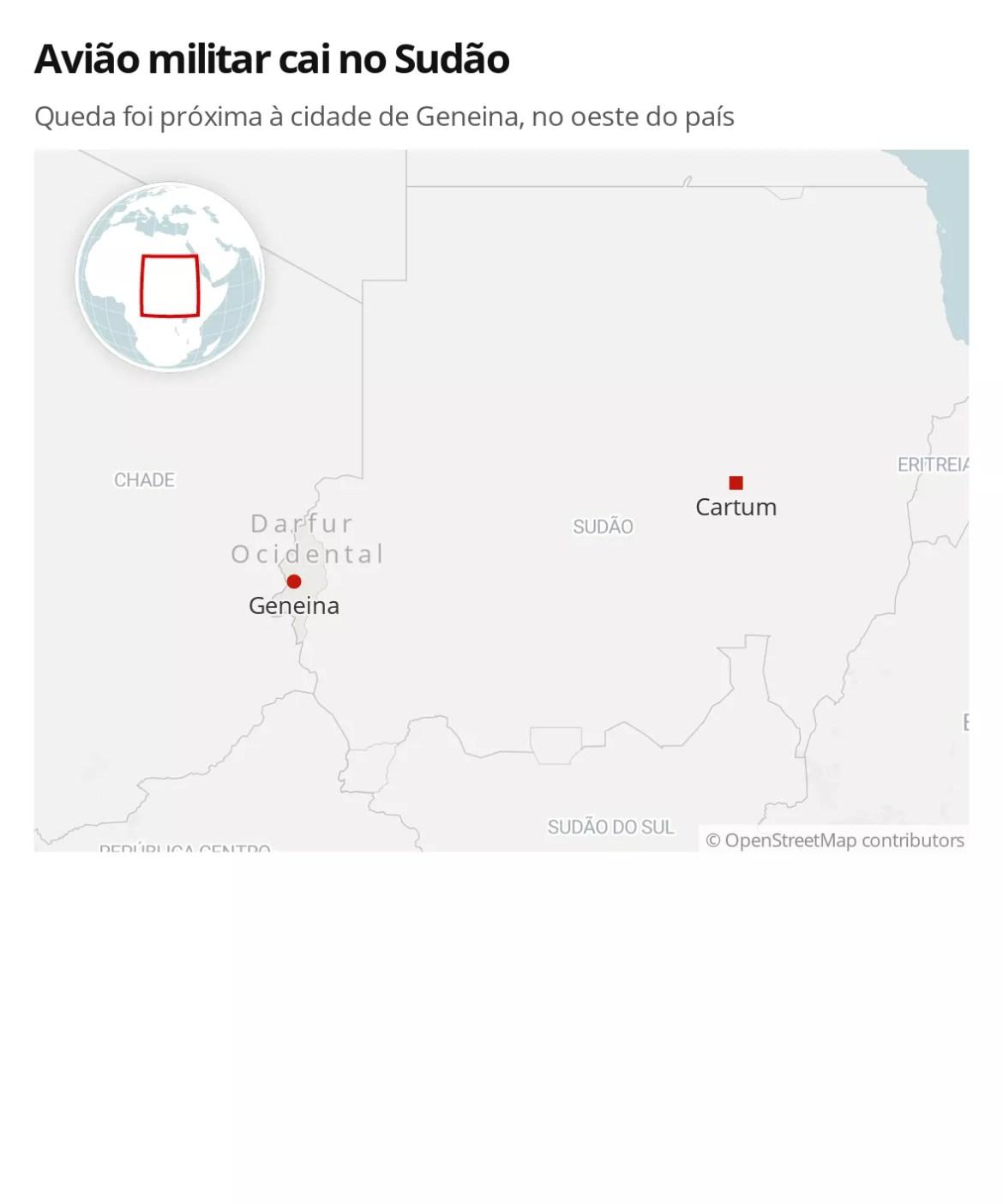 Avião militar cai no oeste do Sudão