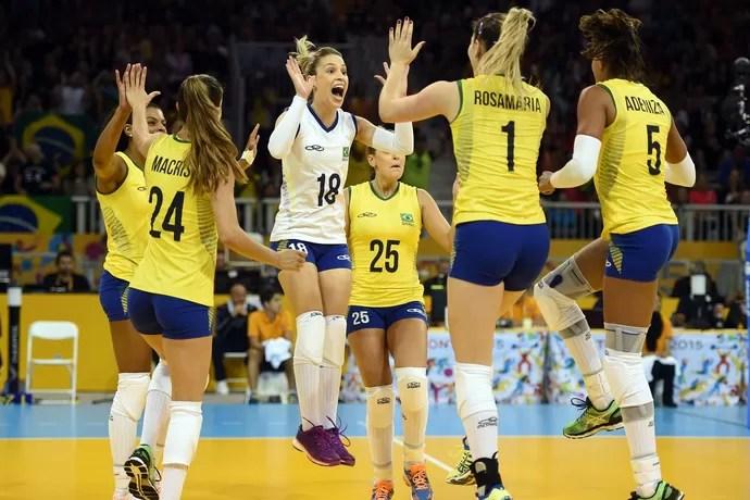 Brasil x Estados Unidos vôlei feminino pan-americano 2015 (Foto: Gaspar Nobrega/inovafoto)