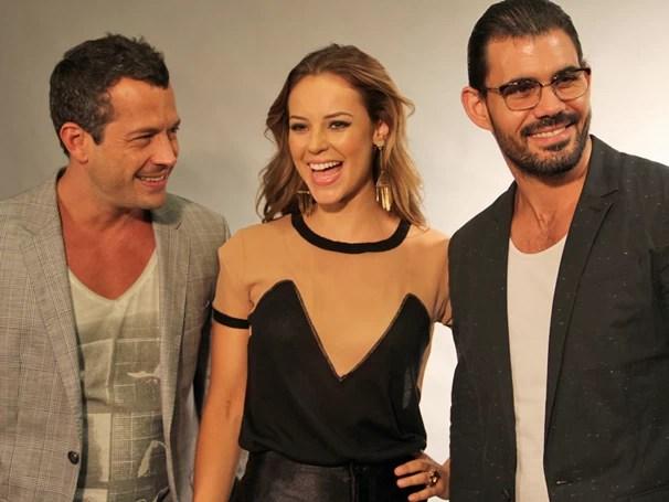 Paolla, Malvino e Cazarré reunidos para apresentar a nova trama à imprensa (Foto: Foto: Nathalia Fernades/ TV Globo)