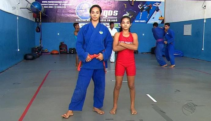 Magna e Alessandra, judô, luta olímpica (Foto: José Gilton / TV Sergipe)