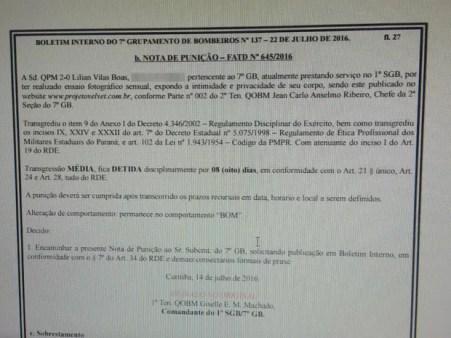 Boletim interno circulou pelo 7ª Grupamento dos Bombeiros de Curitiba (Foto: Reprodução)