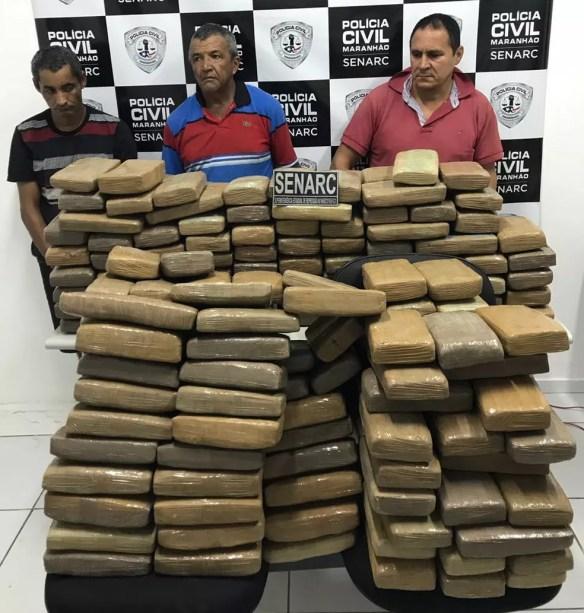 Raimundo Nonato, Hamilton da Cruz e Iranildo Dias foram presos por suspeita de tráfico de drogas (Foto: Divulgação/Polícia Civil)
