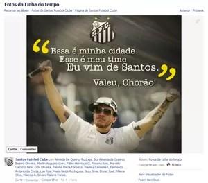 O Santos FC prestou várias homenagens a Chorão na página oficial do clube no Facebook (Foto: Reprodução)