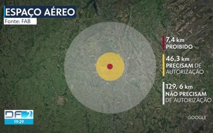 Mapa indica monitoramento do espaço aéreo na posse de Jair Bolsonaro, em Brasília — Foto: TV Globo/Reprodução