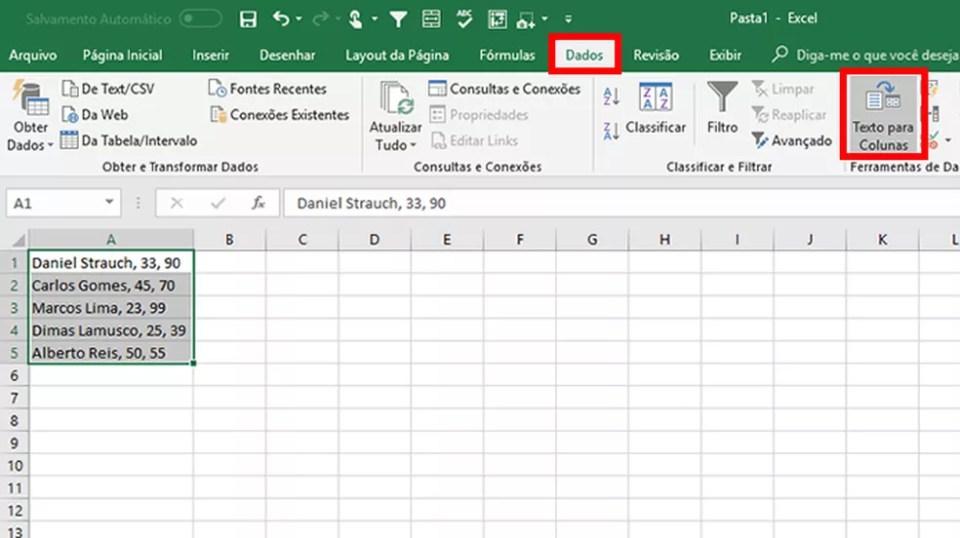 Marque as células copiadas no Excel e clique nos botões indicados na imagem (Foto: Reprodução/Daniel Ribeiro)