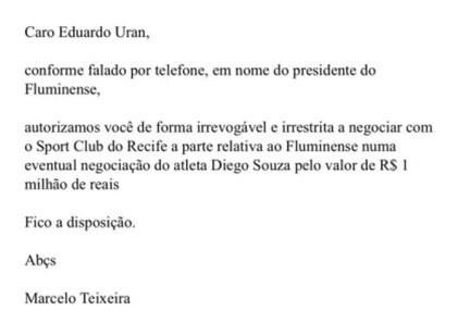 E-mail de Marcelo Teixeira a Eduardo Uram anexado no processo do Fluminense (Foto: Reprodução)
