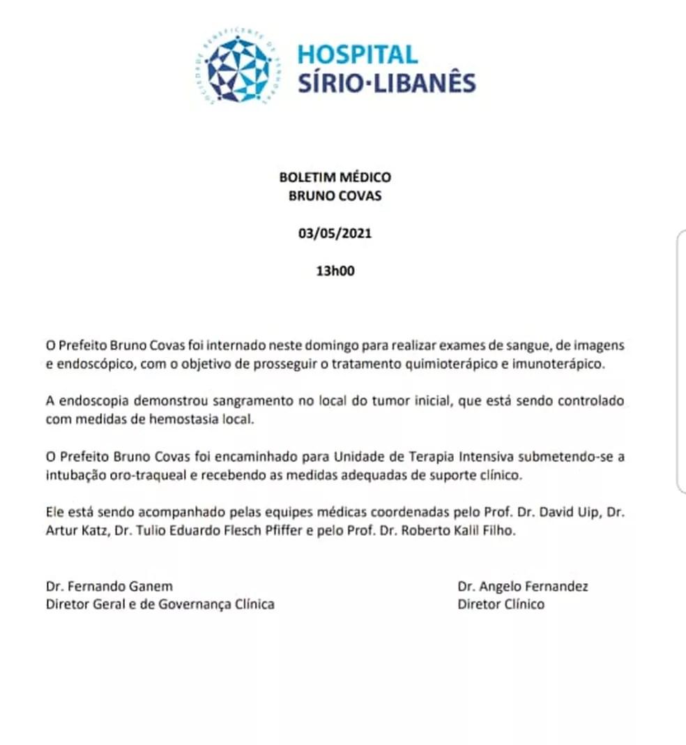 Boletim médico do prefeito Bruno Covas divulgado elo Hospital Sírio-Libanês  — Foto: Reprodução