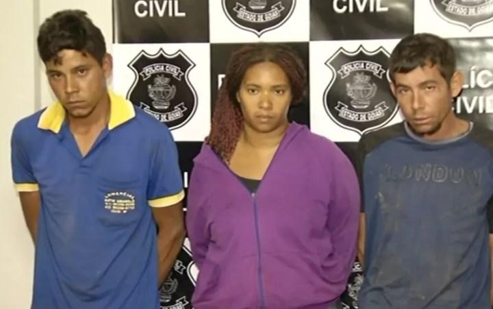 Trio suspeito de matar casal de fazendeiros em Campo Limpo de Goiás — Foto: Reprodução/TV Anhanguera