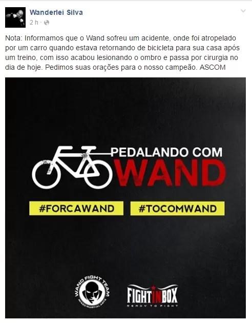 Post no Facebook de Wanderlei Silva
