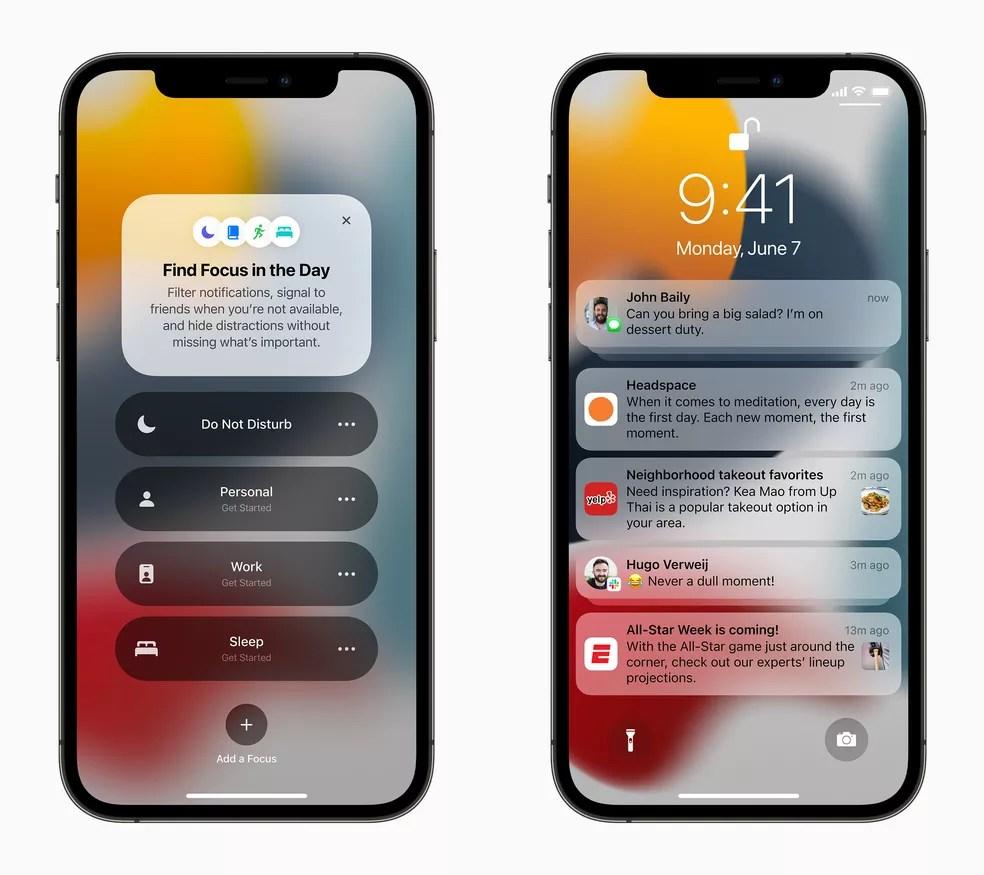 iOS 15: será possível silenciar notificações em determinados períodos do dia. — Foto: Divulgação/Apple