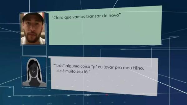 Troca de mensagens entre Neymar e a mulher — Foto: TV Globo/Reprodução