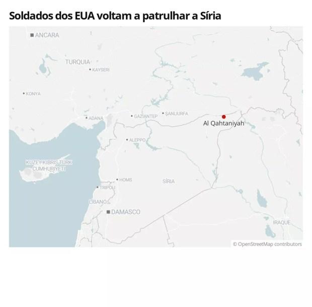Imagem mostra localização da cidade de Al Qahtaniyah na Síria — Foto:  G1