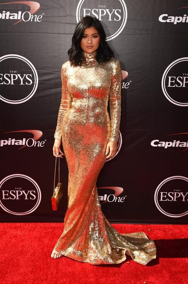 Kylie Jenner em premiação em Los Angeles, nos Estados Unidos (Foto: Jason Merritt/ Getty Images/ AFP)