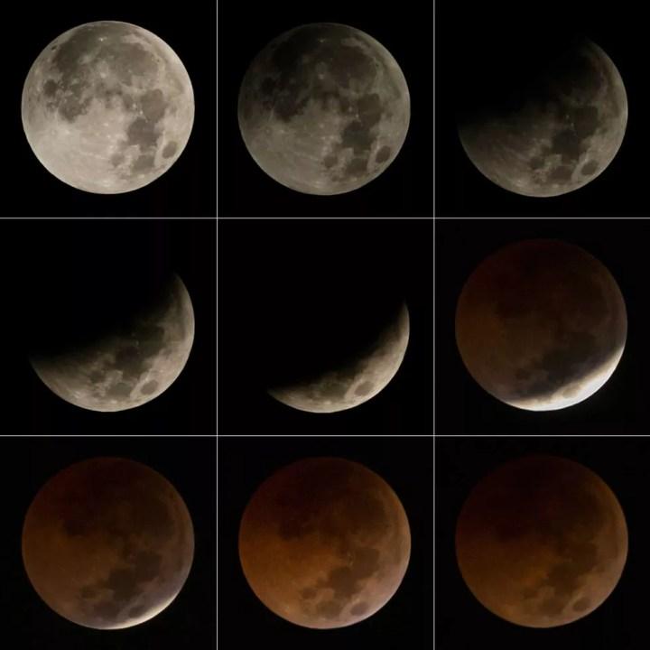 Eclipse lunar total registrado em julho de 2018 — Foto: Bay Iismoyo/AFP Photo