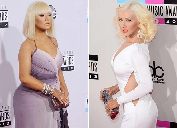 Christina Aguilera - Antes e Depois (Foto: Agência Getty Images - Agência AFP)