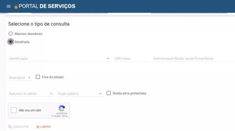 Consulta a dívida estadual no site da Secretaria da Fazenda — Foto: Reprodução/Paulo Alves