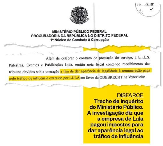 trecho de inquerito do ministerio publico a investigacao diz que a empresa de lula pagou impostos para dar aparencia legal ao trafico de influencia - COM PROVAS: Lula fez tráfico de influência em favor da Odebrecht, diz MPF