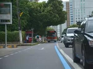 Multa na Faixa Azul da Avenida Mário Ypiranga Monteiro vai começar a valer dia 6 de abril (Foto: Márcio James/Semcom)