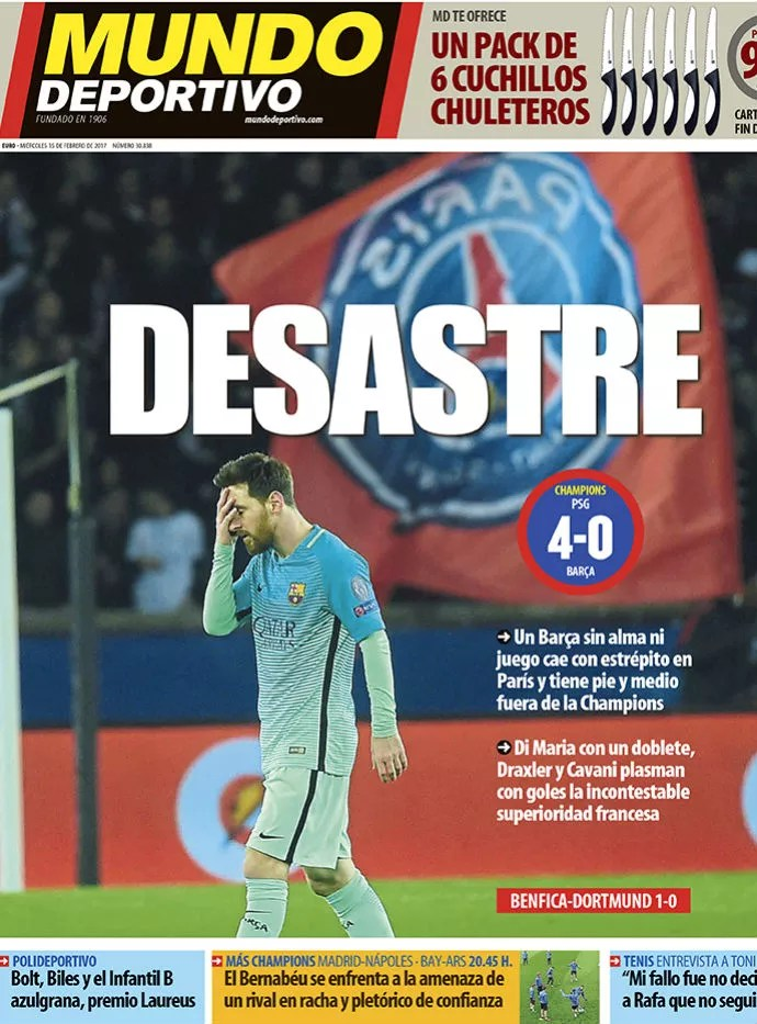 capa mundo deportivo, paris saint-germain x barcelona