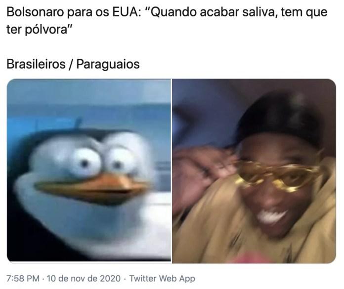 Usuários fizeram memes sobre declaração do presidente Jair Bolsonaro sobre pólvora. — Foto: Reprodução/Redes sociais