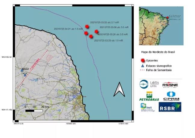 Terremoto foi registrado no litoral do Rio Grande do Norte — Foto: Divulgação/LabSis