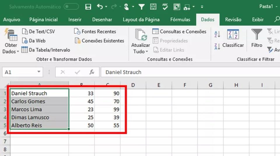 A conversão de textos em colunas permite separar dados de informações copiadas para o Excel (Foto: Reprodução/Daniel Ribeiro)