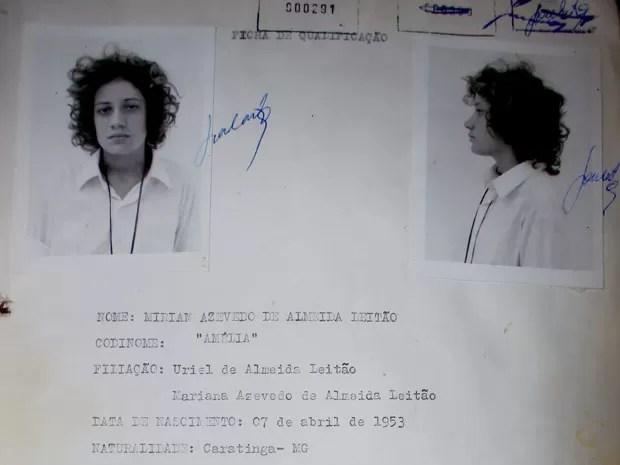 Miriam Leitão em sua ficha  (Foto: Matheus Leitão / Arquivo Pessoal)