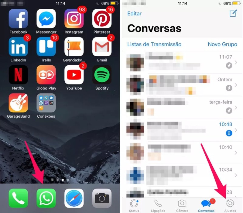 Abra as configurações do WhatsApp no iPhone (Foto: Reprodução/Lucas Mendes)