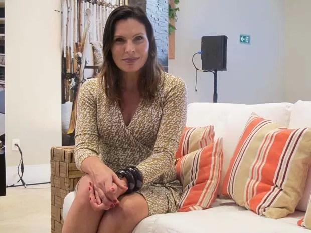Laura Muller esteve no Guarujá para evento (Foto: Mariane Rossi/G1)