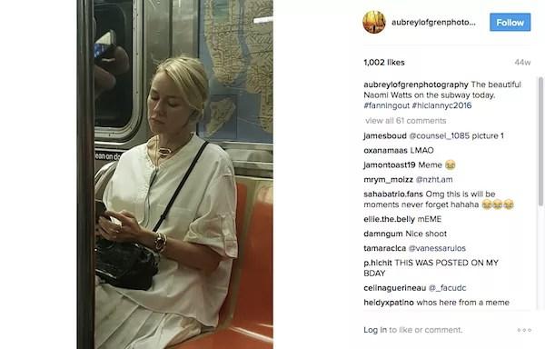 A imagem original compartilhada pela fã de Naomi Watts (Foto: Instagram)