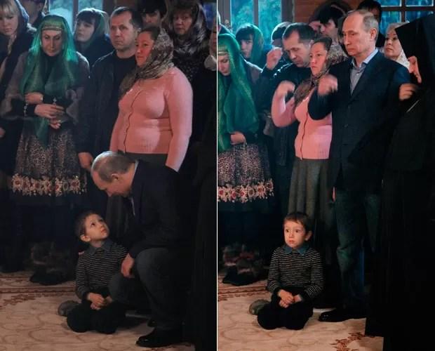 Foto mostra garoto assustado depois de falar com Putin (Foto: Mikhail Klimentyev/RIA Novosti/Reuters)