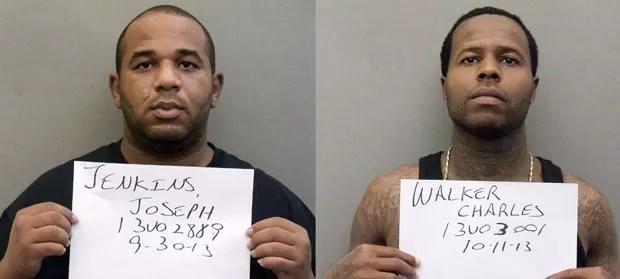 Joseph Jenkins e Charles Walker, condenados a prisão perpétua, saíram da cadeia após apresentarem documentos falsos que reduziam suas penas para 15 anos (Foto: Orange County Sheriff's Office/AP)