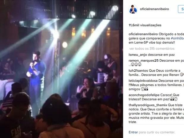 Última postagem do cantorRenan Ribeiro  é trecho de show em Leme (Foto: Reprodução/Instagram)