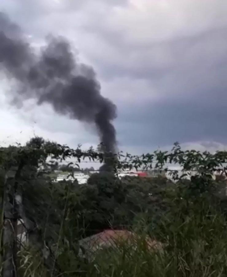 Helicóptero cai em Vinhedo; PM diz que noiva estava a bordo (Foto: Zuleica Fraga)