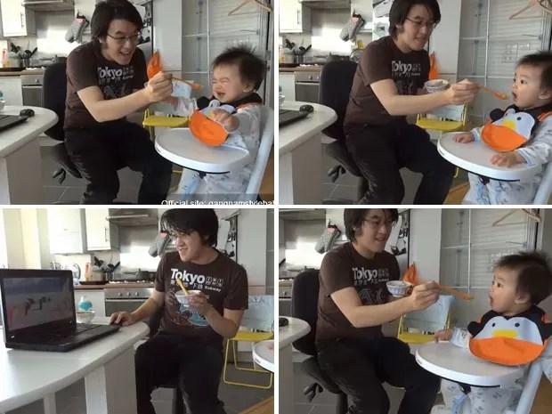 Bebê fica calmo quando assiste ao hit sul-coreano na internet. (Foto: Reprodução)