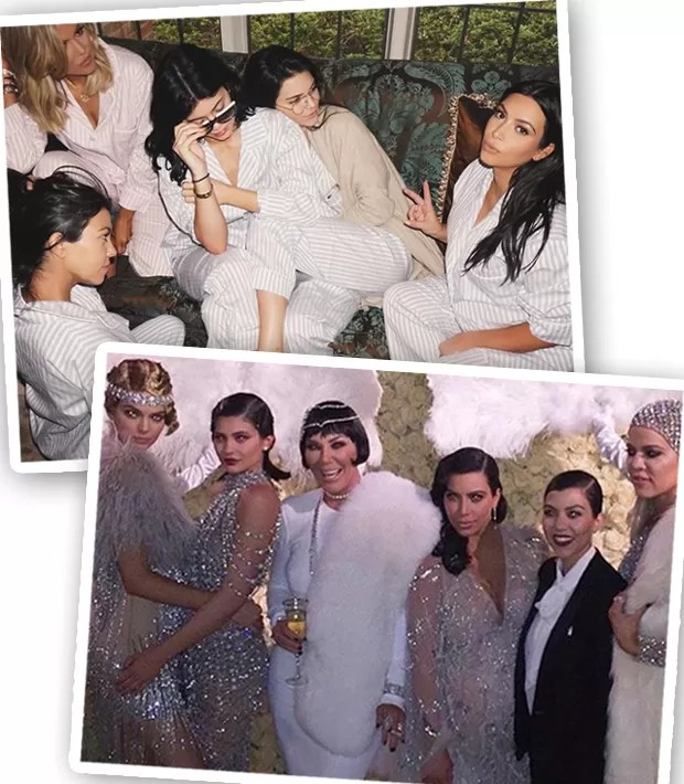 A família de Kendall Jenner inclui Kylie Jenner, Kris Jenner, Caitlyn Jenner, Kim Kardashian, Khloe Kardashian, Kourtney Kardashian, Rob Kardashian, Kanye West, North West, Saint West... (Foto: Instagram/Reprodução)