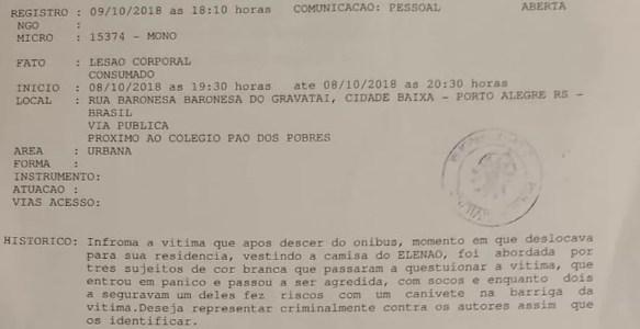 Boletim de ocorrência foi registrado na noite de terça-feira (9) em Porto Alegre — Foto: Reprodução/Polícia Civil