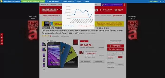 Busca de celular nas Americanas teve resultado surpreendente (Foto: Reprodução/Thiago Barros)