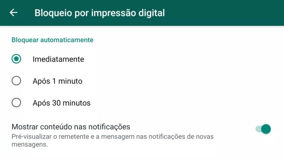 Configuração padrão no bloqueio do WhatsApp não oculta notificações, o que mantém risco para as suas conversas. — Foto: Reprodução