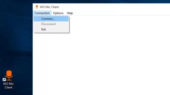Acessando a opção de conexão do app Wo Mic no Windows (Foto: Reprodução/Edivaldo Brito)