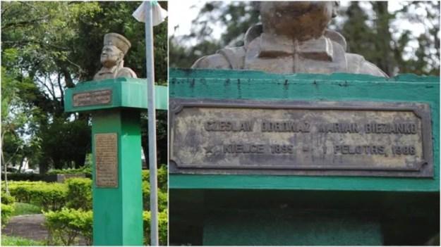 Monumento em homenagem a Ceslau Biezanko em Guarani das Missões; memória do polonês foi retomada com o boom da soja — Foto: Rhuan Trindade/Acervo de Edmundo Gardolinski